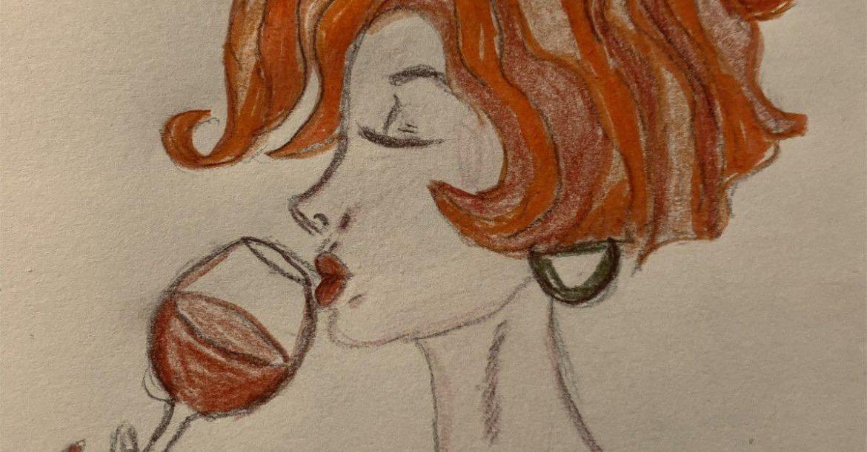 mujer vino dibujo